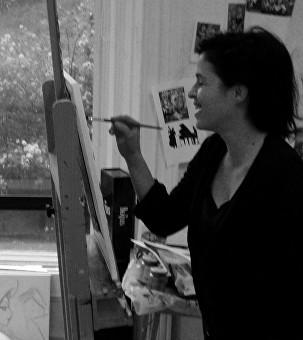 Laetitia Guilbaud en train de peindre