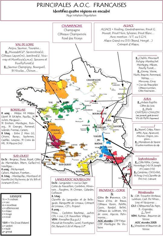 Carte des appellations de vin en France