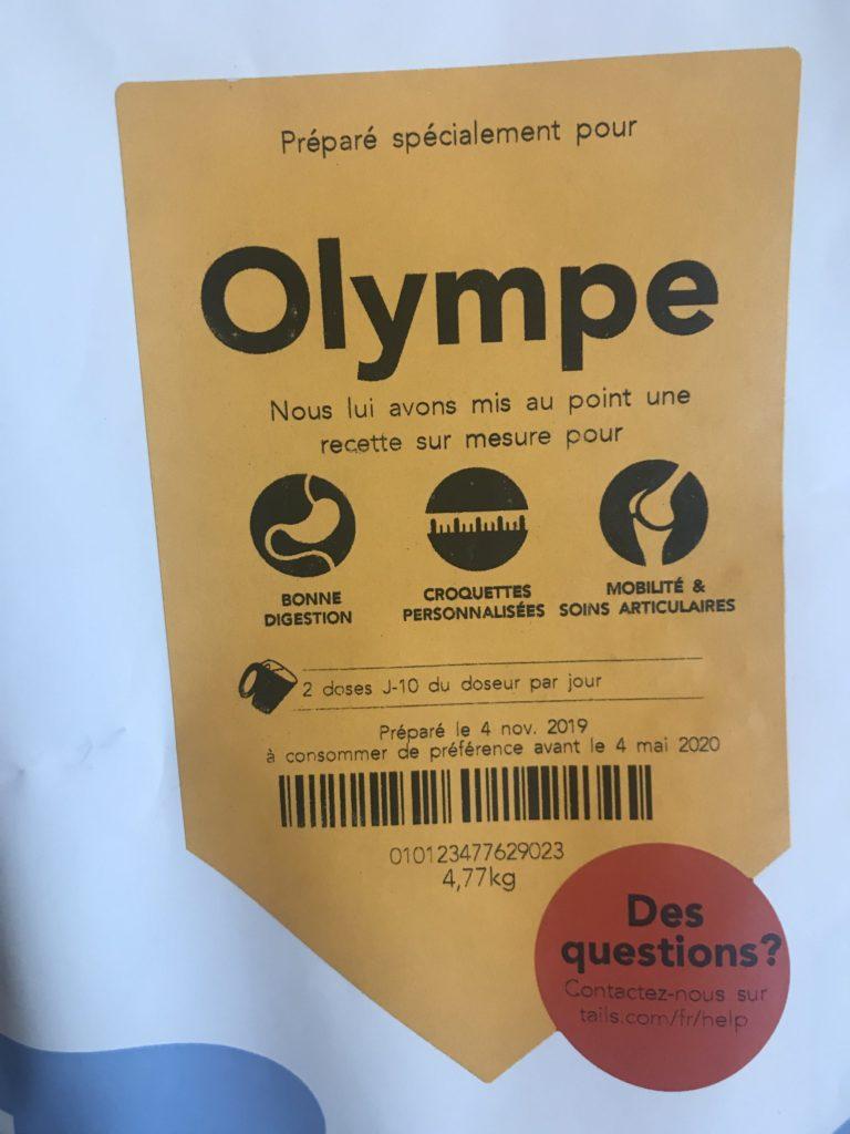Etiquette personnalisée présentant les croquettes pour Olympe.