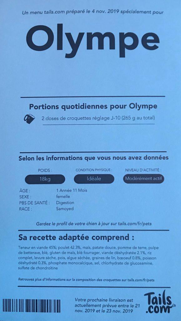 Fiche descriptif des besoins et des croquettes pour Olympe