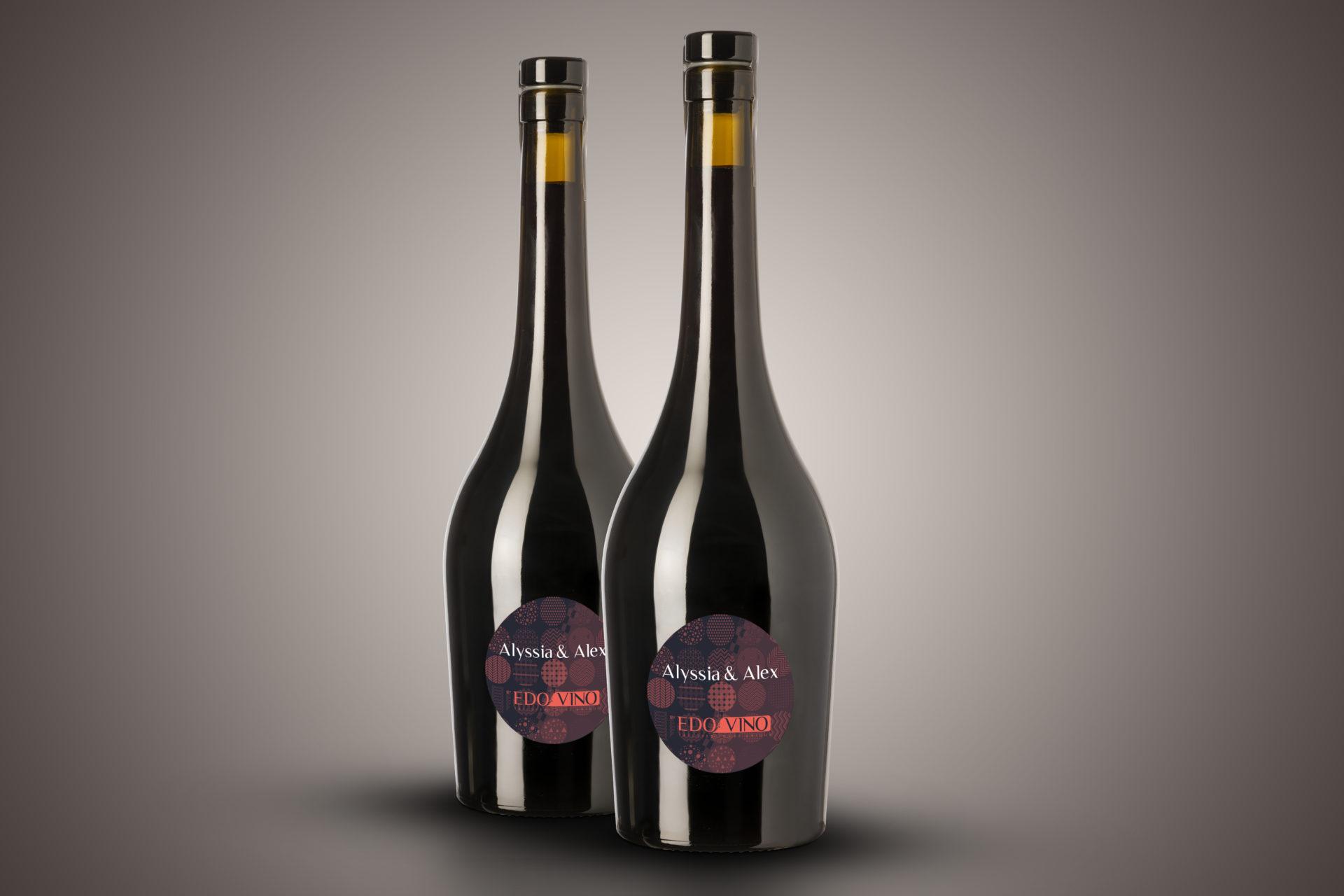 Bouteille de vin personnalisé pour mariage aux noms des mariés